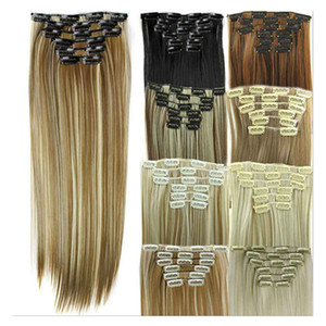 Wholesale hair clip extension for sale - Group buy 6pcs set Synthetic Clip In Hair Extensions Straight Hair inch g Synthetic Clip on hair extensions D1014