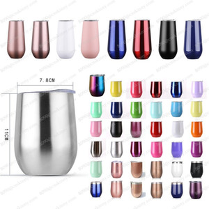 Wholesale 12 oz Stemless Wine Glasses Egg Cups With lid Stainless Steel Tumbler Unbreakable Drinkware Bottles Travel Mugs solid