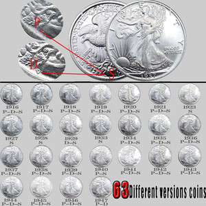 63pcs USA Full Set Walking Liberty Copy Coins Bright Silver Silver plated copper coin