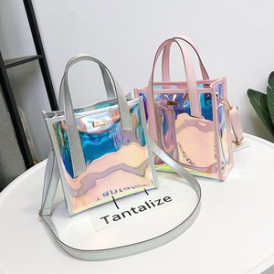 Wholesale 2018 New Brand Women s Handbags Laser Korean Style Bags Transparent Shoulder Bags Jelly Candy Strap Clear Women Bag