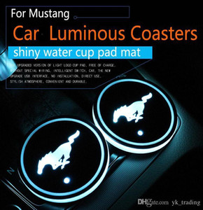 Wholesale 2Pcs set Ford Mustang Logo badge Car Led Shiny Water Cup Pad Groove Mat Luminous Coasters Atmosphere Light