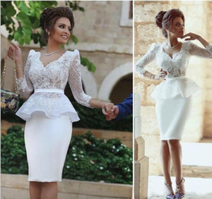 White Satin Sheath Short Party Wear Sexy Prom Dresses 2020 African Nigerian Plus Size Knee Length Lace Cocktail Dress on Sale
