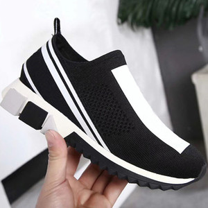 Wholesale Fashion Sorrento Sneakers Men Breathable Mesh Stretch Jersey Slip on Shoe Lady Two tone Rubber Micro Sole Comfortable Casual Shoes US