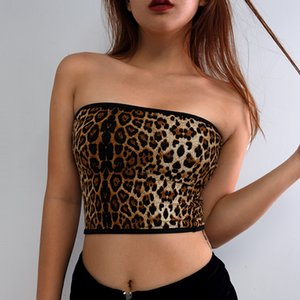 Wholesale ZOGAA Women Leopard Print Strapless Camisoles Tanks Women's Off Shoulder Summer Sexy Fashion Crop Top Tank Tops Vest Camisole