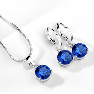Hot Sale Silver Plated Luxury Design Women Jewelry Set Amazing Zircon water drop necklace earrings set Bridal Accessories Wedding Jewelry on Sale