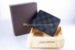 High quality Louis Fashion Women Men design leather brand wallet unisex clutch card holder purse with box L1032