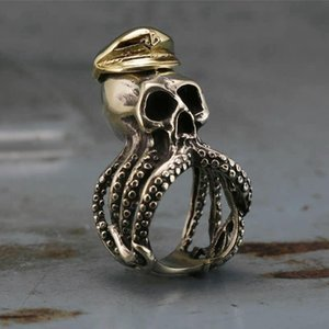 Men's 316L Stainless Steel Octopus Tentacle Skull Captain Rings Navy Military Fashion Punk Biker Jewelry Size 7-14