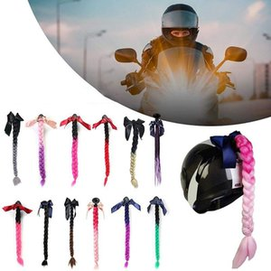 Wholesale 7 Colors Motorcycle Helmet Braids Woman Braids Wig For Motorbike Helmets Twist Dual Pigtail Ponytail With Sucker Bow
