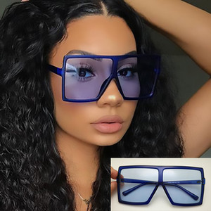 Wholesale 2019 Hot Big Flat Top Oversized Square Sunglasses Ladies Plastic Frame Blue Shades Luxury Designer Sun Glasses For Women Men Tinted Lens