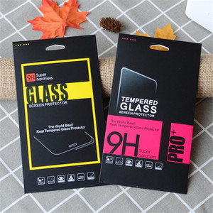 High quality black paper Glass retail packaging box paper box white box for iphone 7 6 6 plus Samsung Screen Protector Film