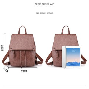 Wholesale Women Backpacks Leather Female Travel Shoulder Back Pack New Preppy Style College School Bags For Teenage Girls