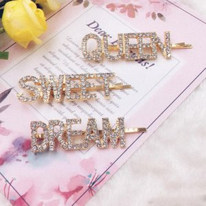 Wholesale Gold Crystal Rhinestone Letter Hair Clips Girl Hairpin Bling Diamond Words Barrettes Fashion Bangs Clip Woman Hair Accession