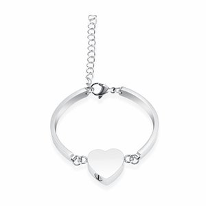 Wholesale Love Heart Keepsake Bangle For Women Stainless Steel Mini Cremation Urn Jewelry Memorial Bracelet Ashes Locket Free Engrave