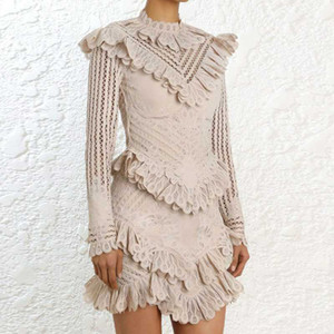 Wholesale Lace Sexy Short Dress Female Elegant Butterfly Long Sleeve Women Dress Patchwork Autumn Winter Party Festa Robe Femme DS32
