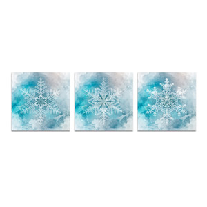 Unframed Canvas Prints Winter Theme Winter Snowflake Abstract Watercolor Painting Blue Background Modern Art Print on Waterproof Canvas on Sale