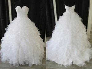 Inspired Ball Gown Princess Wedding Dresses Bridal Gowns Ruffles Real Photo Sweetheart Organza Pleated Applique Beaded Sequins Cheap