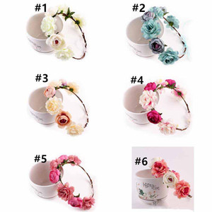 Wholesale Bohemia Women Flower Headband Hair Band Garland Crown Artificial Wedding Bride simulation flower head wreath Kids Girls Accessories