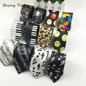 Free Shipping Classic Fashion Men's Music Tie Holiday Festival Printed Piano Guitar Smiling Face Polyester 5 cm Width Necktie D19011003 on Sale