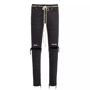 Wholesale Mens Brand Jeans Black Knee Broken Letter Embroidered Skinny Pants Drawstring Fashion Represent Destroyer Denim Pants