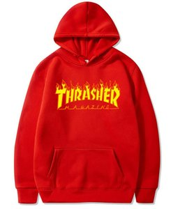 Wholesale Fashion Thrasher Hoodies Fashion Men Women Hoody Casual Jacket Mens Autumn Hoodie Loose Sweatshirt Long Sleeve Pullover Size S-3XL