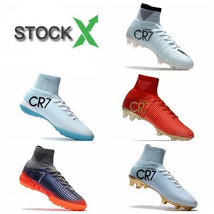 Wholesale 2020 New Cristiano Ronaldo Mercurial Superfly v FG CR7 Football Boots White Golden indoor soccer shoes mens Training Sneakers Soccer Cleats
