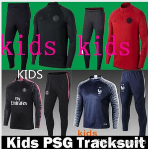 Wholesale Kids Paris tracksuit psg Soccer jogging jacket MBAPPE POGBA survetement Paris child Football Training suit Kits