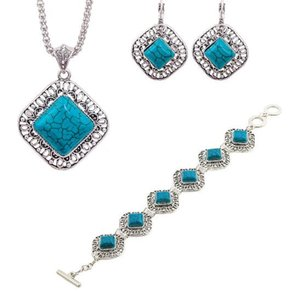 Wholesale (blue set)New Style More popular Diamond turquoise Jewelry Sets For Lady Earrings Necklace good quality .