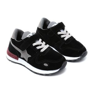 Wholesale Spring autumn fashion five pointed star black leather pink casual shoes boys shoes for boys sneakers kids size