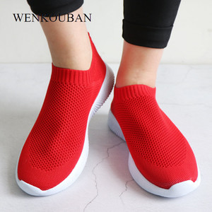 Wholesale female summer sneaker resale online - Women White Sneakers Female knitted Vulcanized Shoes Casual Slip On Flats Ladies Sock Shoes Trainers Summer Tenis Feminino