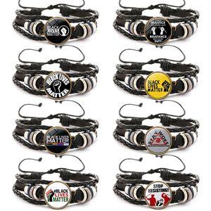 Black Lives Matter Leather Bracelet I Cant Breathe Men Women Charm Bracelets Girls Boy Jewelry Gifts