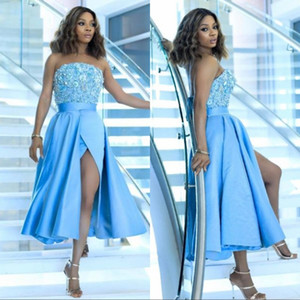 Sexy Sky Blue Tea Length Prom Dresses Lace Beaded Sequins Strapless Sleeveless High Split Open Back Party Cocktail Homecoming Gowns on Sale