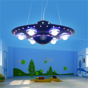 Wholesale children light fixtures for sale - Group buy 2020 New chandelier lighting UFO Pendant Light Silver Blue Children Kids Boy Bedroom Hanging Kindergarten Nursery School Fixture