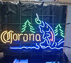 Wholesale Custom Corona Beer Led Glass Tube Neon Signs Lamp Lights Hotel Advertising Display Bar Home Decoration Sign Metal Frame