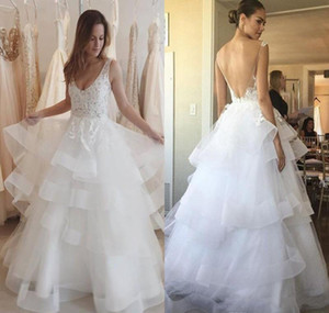 Wholesale 2019 Chic Backless Wedding Dress Sexy Appliques Tiered Ruffle V Neck Country Bridal Gown Custom Made Plus Size Free Fast Shipping