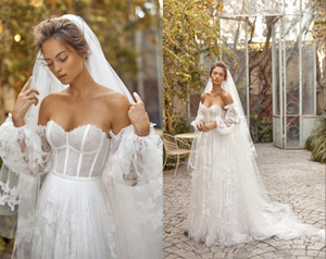 Wholesale 2020 Romantic Boho Summer Wedding Dresses Detachable Long Sleeves Illusion Lace Tulle Applique Vestidos De Novia Wedding dress Bridal Gowns