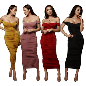 Wholesale Velour Off Shoulder Pleated Dresses Women Slash Neck Short Sleeve Midi Bodycon Party Dresses Pink Black Red Yellow