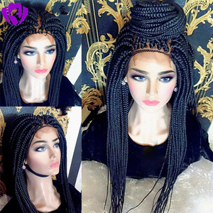 Wholesale braided brazilian hair wigs for sale - Group buy Hotsale africa women style brazilian full lace front Braided Wig natural Box Braids Wig synthetic hair wig with baby hair