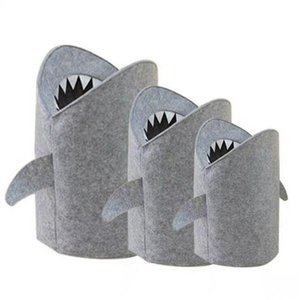 Wholesale Shark Cartoon Stuff Receiving Bucket Felt Clothing Receiving Box Children Toy storage Box Home Fashion Decoration T3I5106