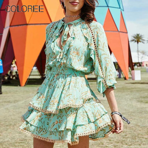 COLOREE Vacation Boho Beach Mini Dress 2019 Turquoise White Sexy Printed Hollow Out Ruffles Deep V Neck Lace Up Dress