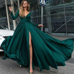 Wholesale New Green Sexy V neck A line Prom Dresses Long Sleeves Jersey Evening Gowns Elegant Party Side Split Plus Size Custom Made