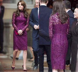 Kate Middleton Short Evening Dresses for Women Wear with Elegant Knee Length Sheath Lace Long Sleeve Purple Cocktail prom Formal Gowns 2018 on Sale