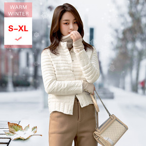 Wholesale New Women Short White Duck Down Jacket Female Ultra Light Slim Thin Soft Lightweight Standing Collar Feather Coat Good Quality