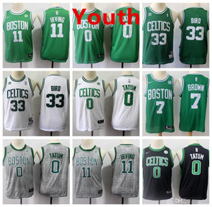 Wholesale Kids Kyrie Irving Retro City Jersey Edition Vancouver Boston Celtics Jayson Tatum Larry Bird nba Basketball Jerseys Green