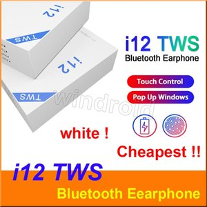 Wholesale i12 TWS V5 Touch with Pop up Window True Headphones Wireless Stereo Earbuds Touch Control Wireless Earphone i12 TWS Earbuds for phone