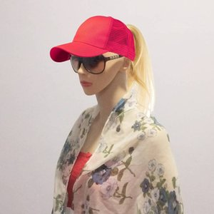 Wholesale 2019 New Summer Ponytail Ball Cap Messy Bun Trucker Plain Baseball Visor Cap Ponytail Basketball Hats Back Hole Pony Tail