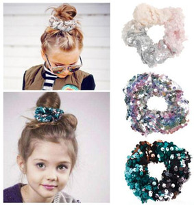 Wholesale 12 Colors Girl Double Colors Mermaid Sequin Rubber Hairband Fashion Beautiful Girl Hair Accessories Hairband