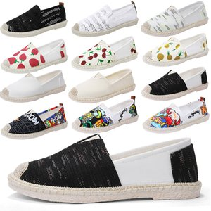 Wholesale 2019 Summer Flats Slip On Canvas Shoes Black Retro Vintage Ladies Womens Casual Espadrilles Shoes For Female Lazy Loafers