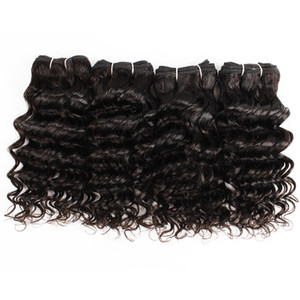 Wholesale short hair wave resale online - 4 Indian Deep Curly Hair Weave g pc Natural Color Black Cheap Human Hair Weave Extensions for Short Bob Style