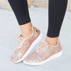 Oeak Women Sneakers 2019 Summer Glitter Bling Gold Silver Shoes Woman Plus Size White Sneakers Sparkly Casual Shoes For Women