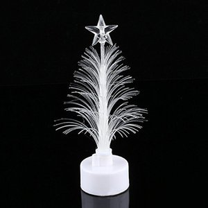 Wholesale Colored Fiber Optic LED Light up Mini Christmas Tree with Top Star Battery Powered Dropshipping FAS